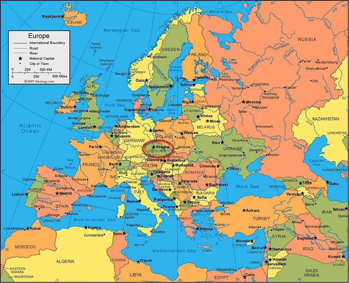 Prag Karte Europa.Prag Karte Europa Karte Von Europa Zeigt Prag Böhmen Tschechien