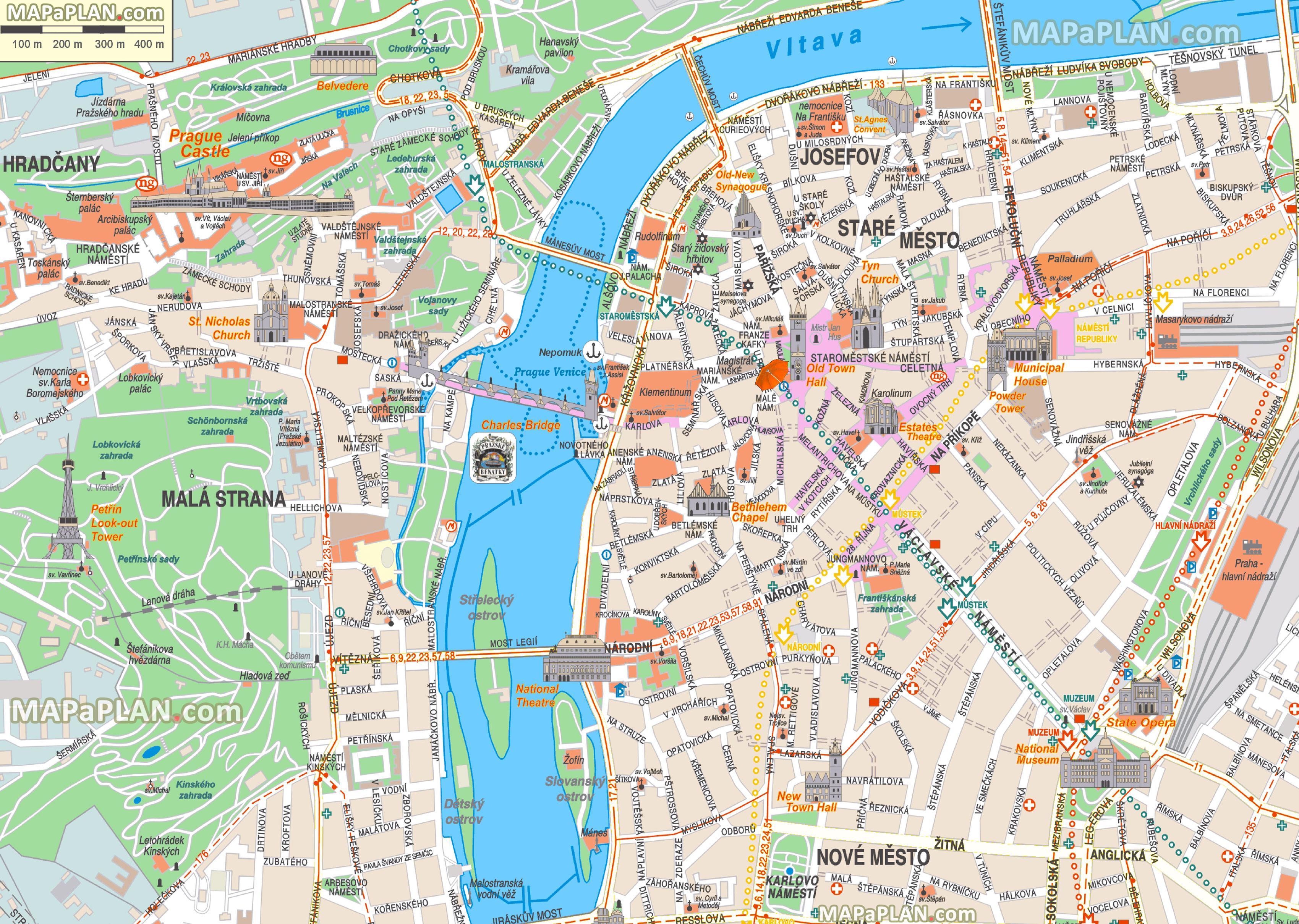 Prag offline map - Offline Karte von Prag (Böhmen, Tschechien) on