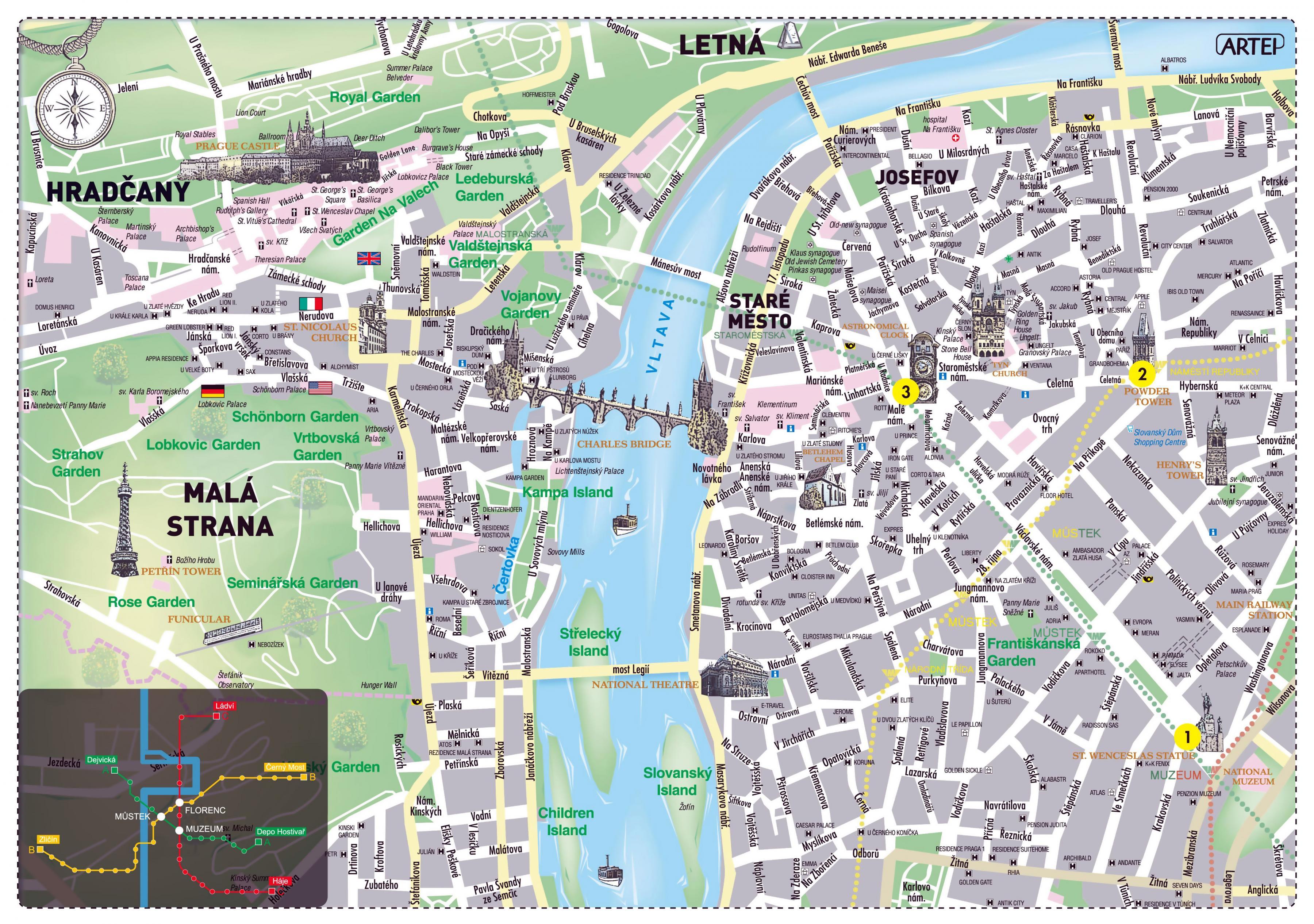 Prag Karte Sehenswurdigkeiten.Prag Sehenswurdigkeiten Karte Prag Stadtplan Mit