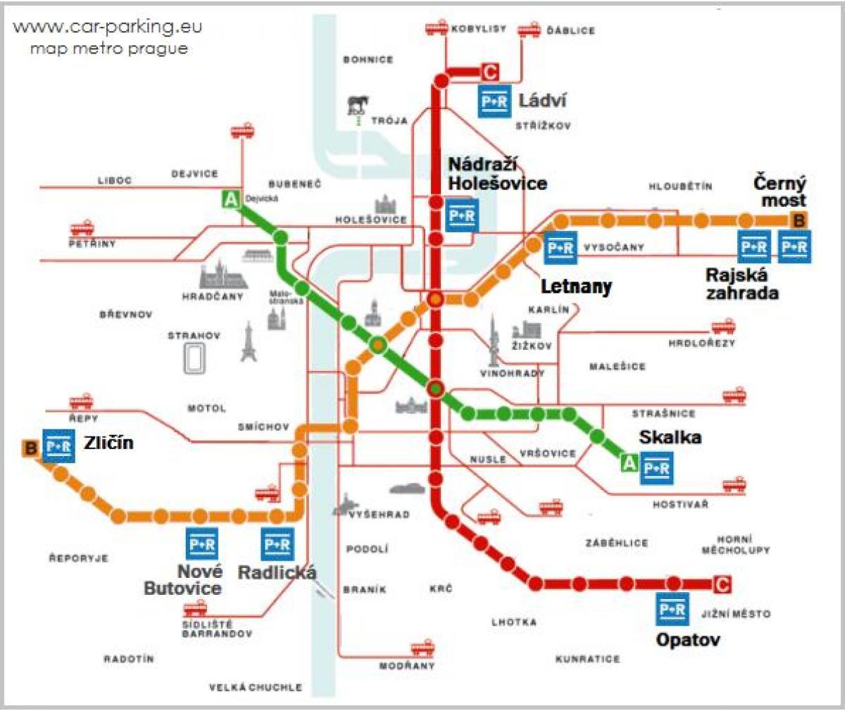 Prag Karte Offentliche Verkehrsmittel.Park Ride Prager Karte Prag Park Ride Karte Bohmen