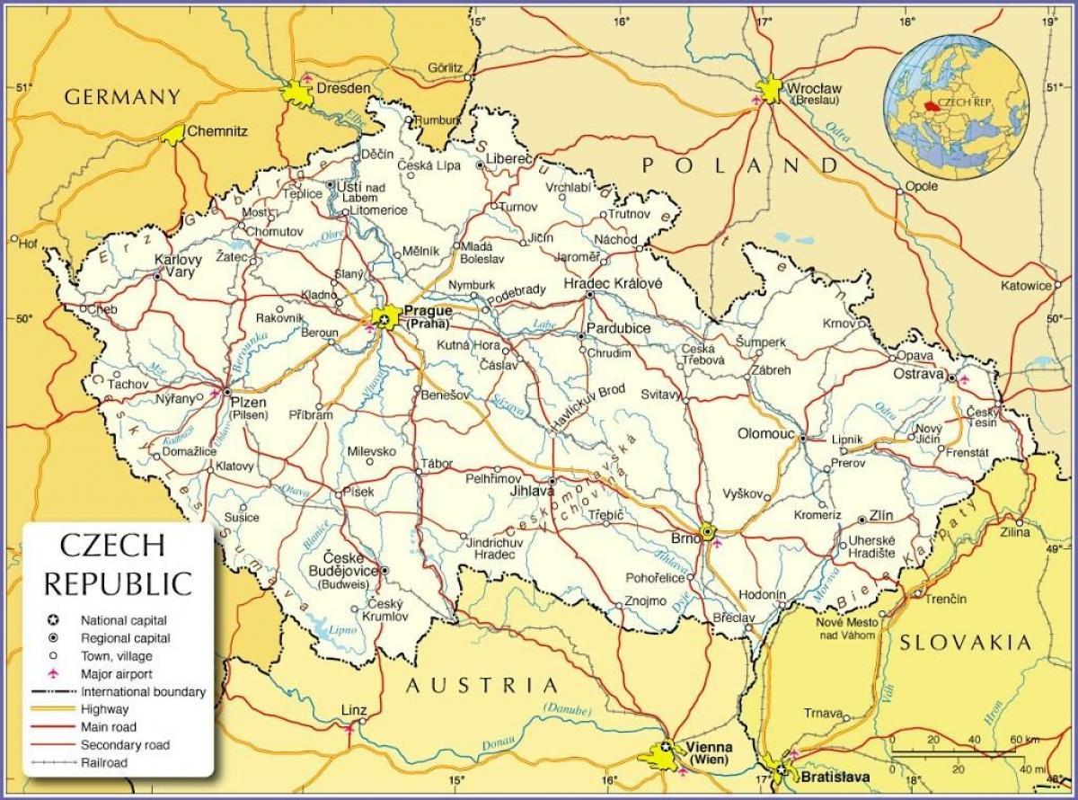 Karte Tschechien.Prag Tschechische Republik Karte Praha Tschechische Republik